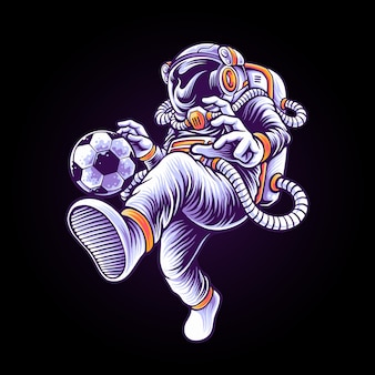 Astronaut soccer player illustration