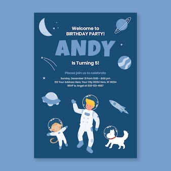 Astronaut in space birthday party invitation