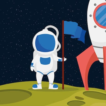 Космонавт космический персонаж с флагом и ракетой