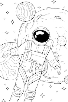 Astronaut in space coloring book