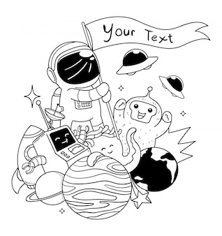 Astronaut space doodle art illustration