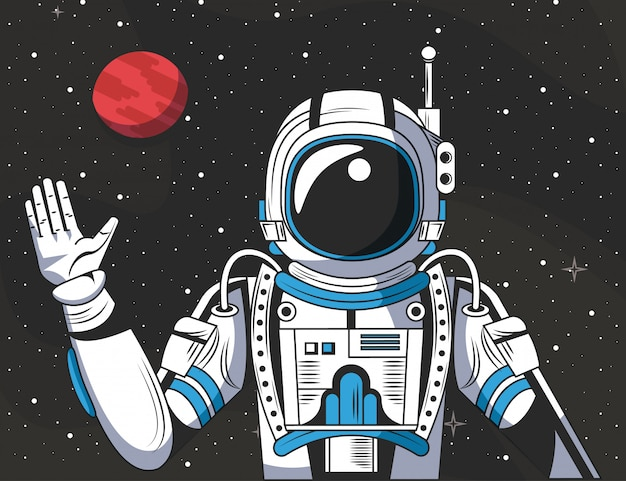 Astronaut in the space drawing cartoon