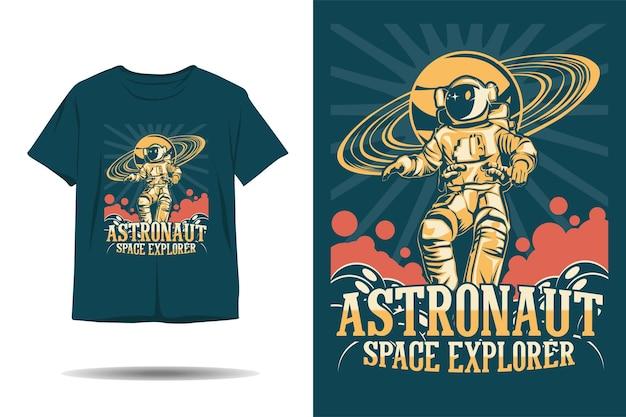 宇宙飛行士宇宙探検家イラストtシャツデザイン