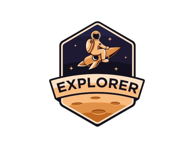宇宙飛行士の宇宙探検家のロゴのテンプレート
