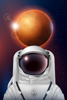 Космонавт космический шлем реалистичная композиция космонавта в скафандре иллюстрации