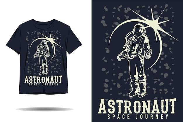 우주 비행사 우주 여행 실루엣 tshirt 디자인