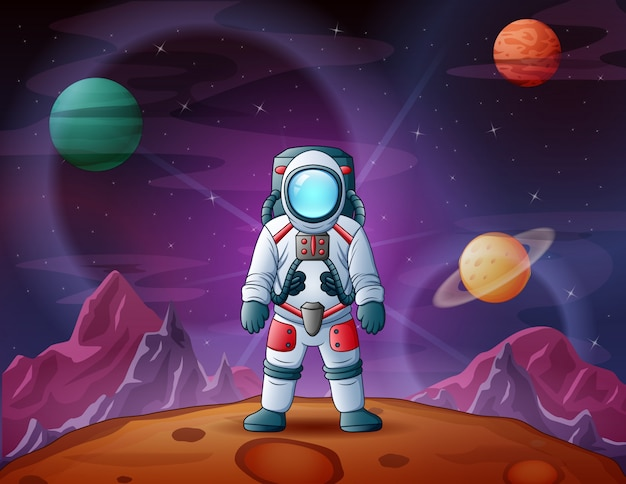 Astronaut in space scene illustration