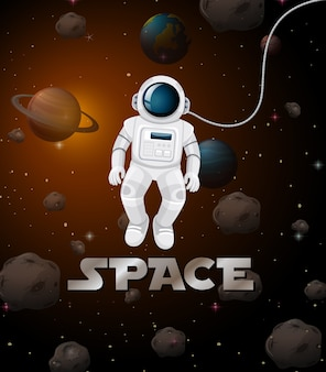 Astronaut in space scene