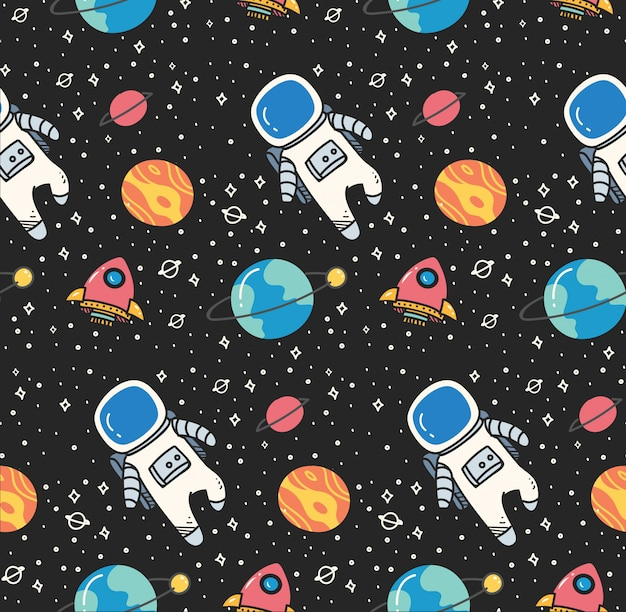 Astronaut in space seamless background in kawaii style