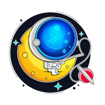 宇宙飛行士、黒い背景で隔離の宇宙服