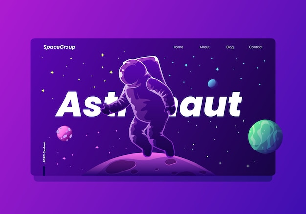 Astronaut in space with planets and stars landing page