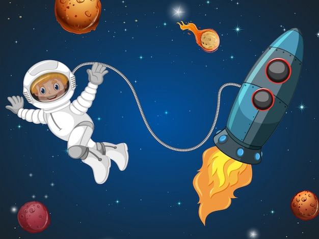 An astronaut in the space