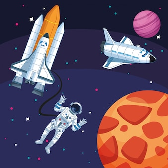 Astronaut spacecrafts planets galaxy space exploration