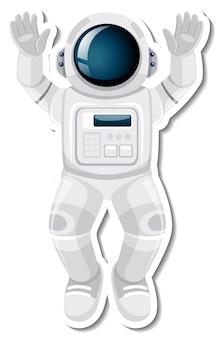 Personaggio dei cartoni animati di astronauta o astronauta in stile adesivo