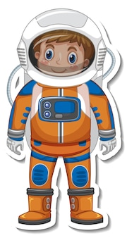Astronaut or spaceman cartoon character in sticker style
