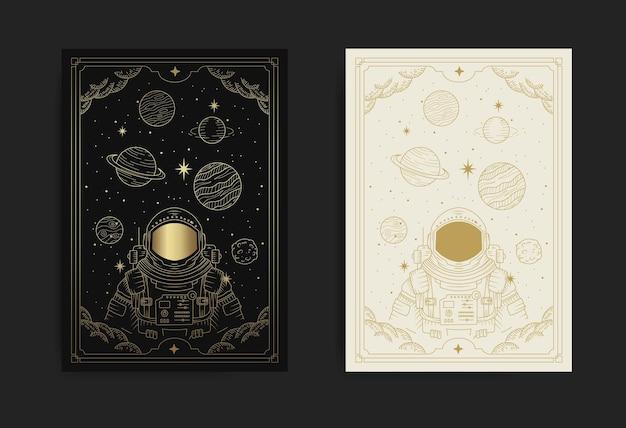 Астронавт-космонавт летит в космосе, полном планет и звезд, линии искусства иллюстрации