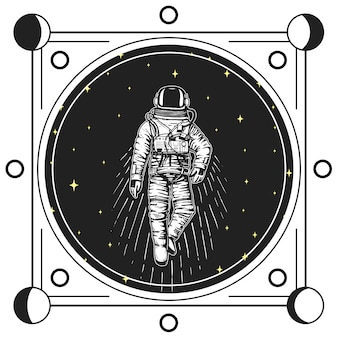Astronaut spaceman. moon phases planets in solar system. astronomical galaxy space. cosmonaut explore adventure. engraved hand drawn in old sketch, vintage style for label or t-shirt.