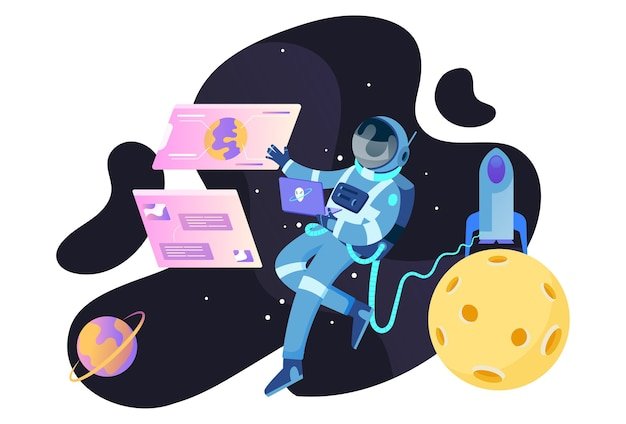 Astronaut spaceship illustration concept for website and mobile