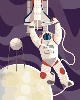 Astronaut in spacesuit satellite and shuttle on moon space  illustration