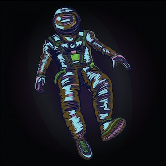 Astronaut in spacesuit on space