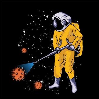 宇宙飛行士がウイルスを噴霧する