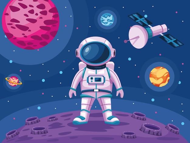 Astronaut standing in moon with satellite space universe scene illustration