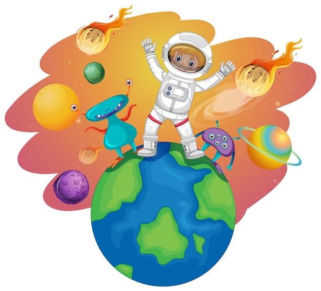 惑星に立っている宇宙飛行士