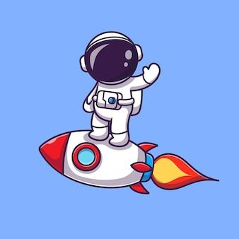 Астронавт, стоящий на ракете