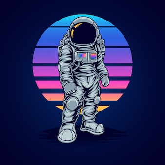 Astronaut standing with retro background