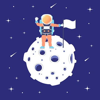 宇宙飛行士は旗を持って月に立っています