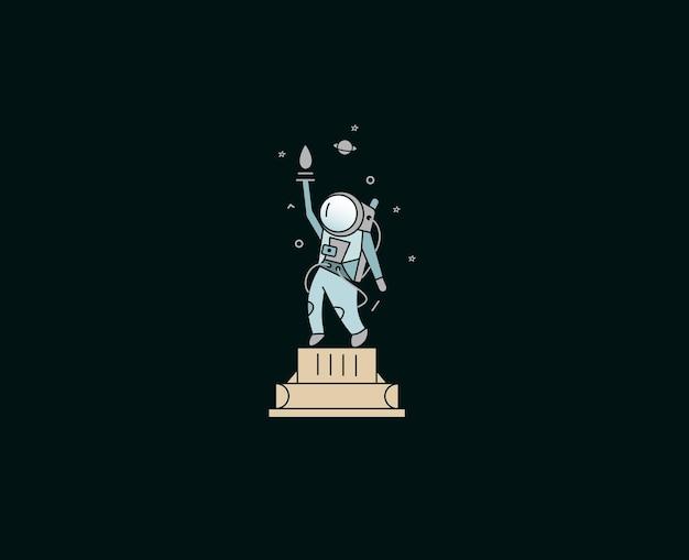 우주 비행사 자유의 여신상 아이콘, 플랫 라인 아트 디자인 그림.