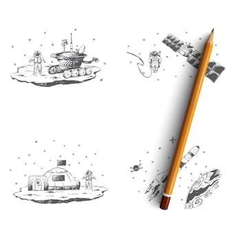 Astronaut study of surface, orbital station illustration