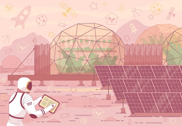 Astronaut in suit near solar panel greenhouse dome