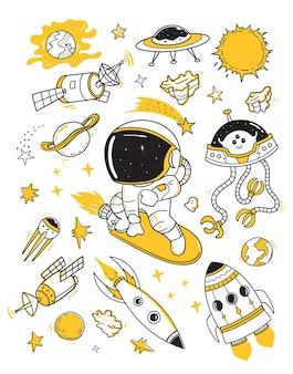 Astronaut surving doodles