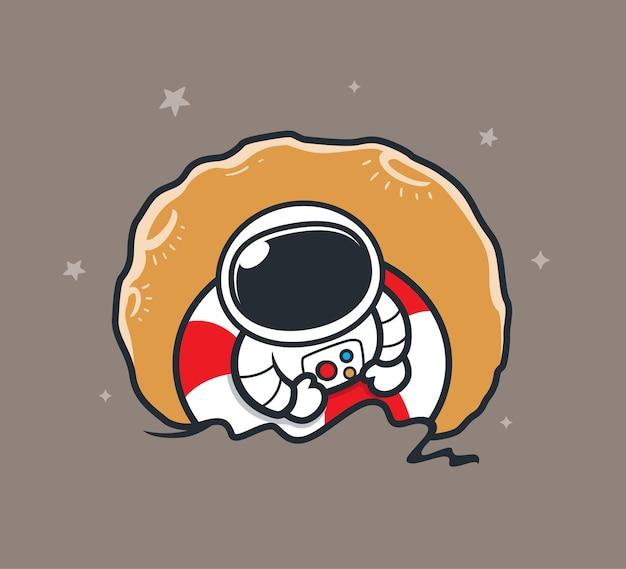 Космонавт плавает в космосе