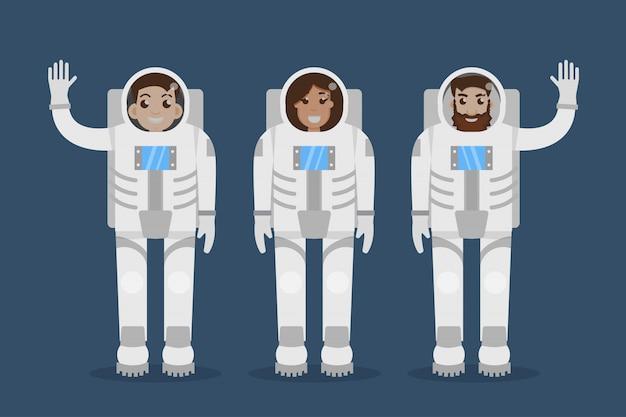 Astronaut team. flat style  illustration.
