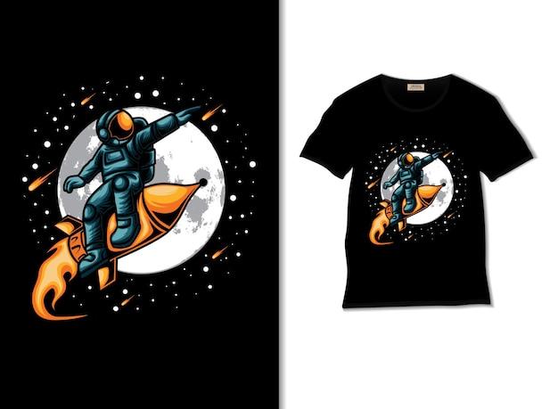Астронавт на луну с ракетой иллюстрации с дизайном футболки