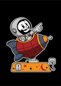 Astronaut toy rocket hand drawn illustration