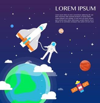 太陽系のイラストデザインの周りを旅する宇宙飛行士