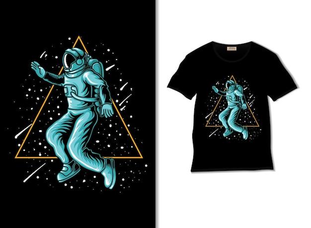 Tシャツのデザインと宇宙飛行士の三角形の空間のイラスト