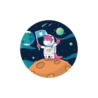 Astronaut unicorn cartoon