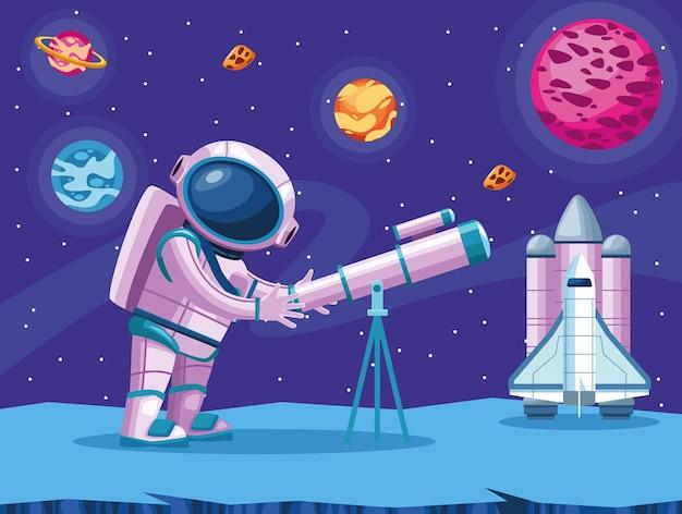 Астронавт с помощью телескопа иллюстрации