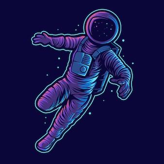 Астронавт векторные иллюстрации плавают в космосе