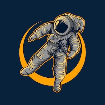 Astronaut vector illustration flying with moon light