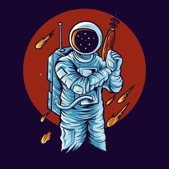 Астронавт векторная иллюстрация игрушечный пистолет