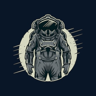 Astronaut vector illustration with moon