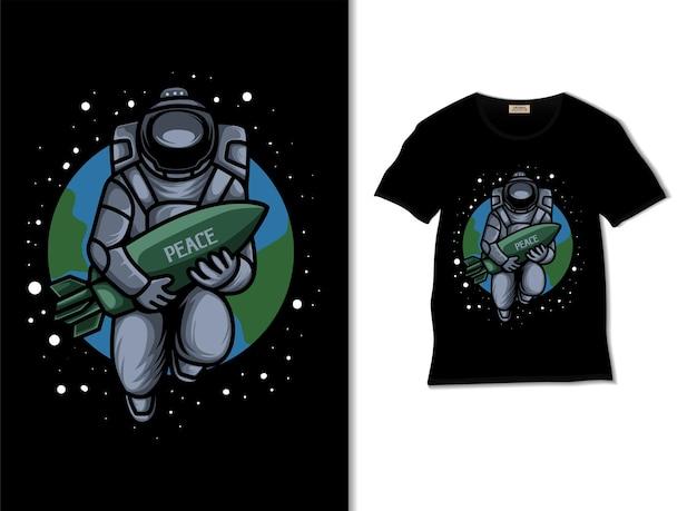 宇宙飛行士はtシャツのデザインで平和な世界のイラストを望んでいます