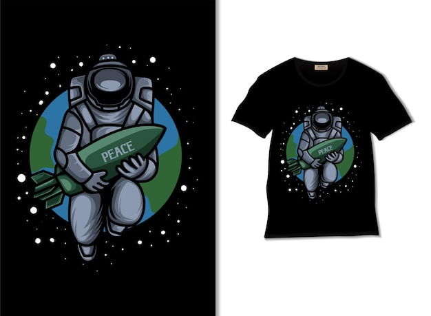 Astronaut want a peaceful world illustration with tshirt design