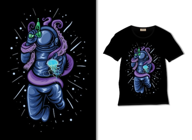 Astronaut war with octopus and jellyfish illustration with t shirt design