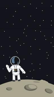 月に手を振っている宇宙飛行士